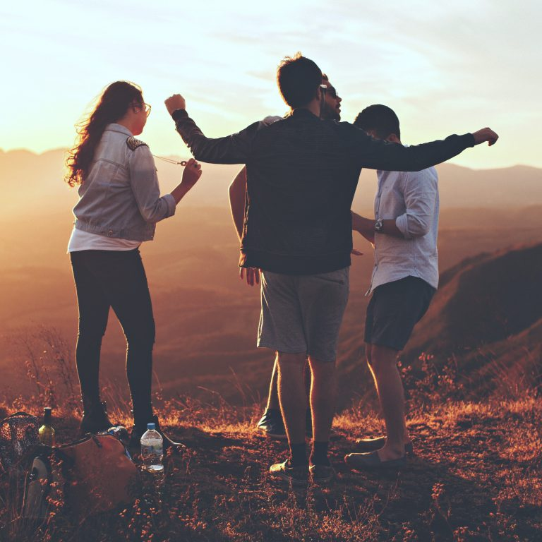 four-person-standing-at-top-of-grassy-mountain-697244